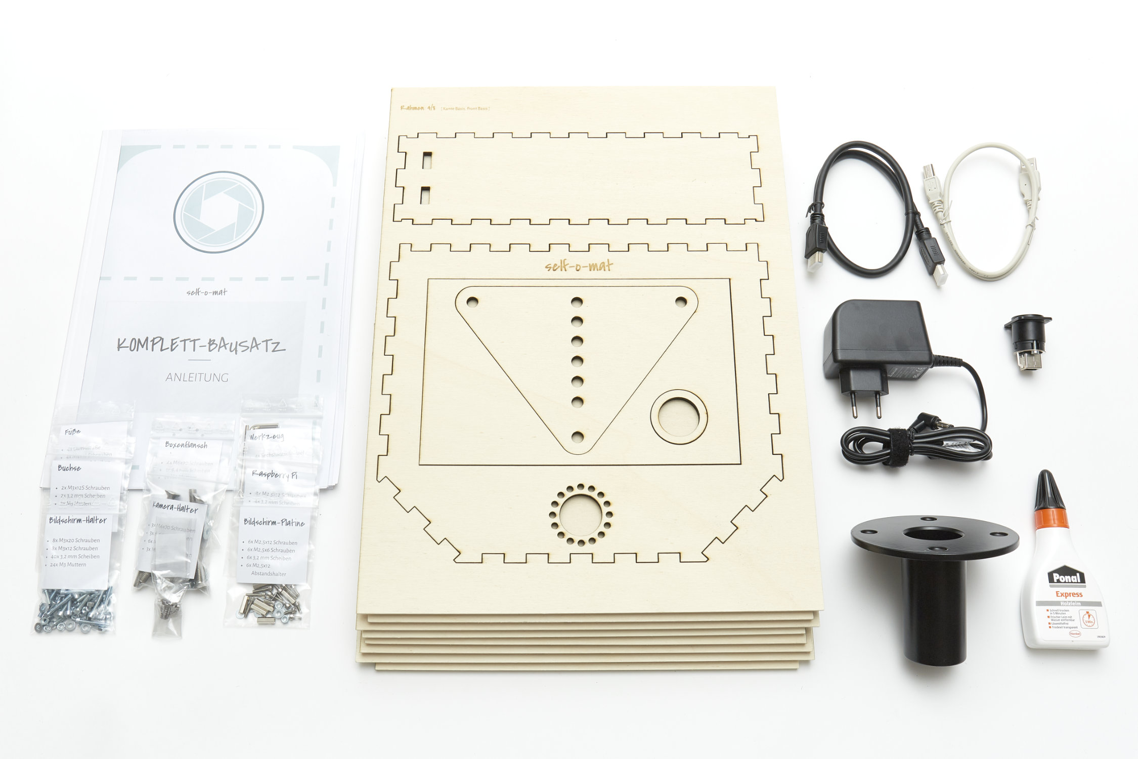 The photo booth kit includes everything you need to build your own photobooth. It starts with the wooden case and ends with electronics and screws.